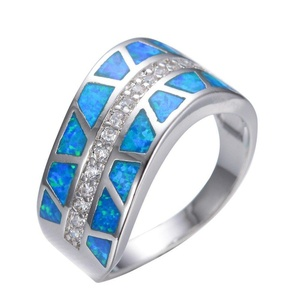 FT-Ring Ocean Blue Fire Opal Jewelry Wedding Ring For Women Engagement Wedding Bridal Rings