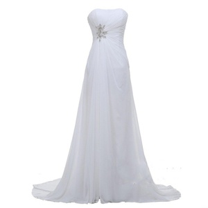 Angel Formal Dresses Women's Strapless Rhinestone Court Train Chiffon Bridal Gown Wedding Dresses(18,White)