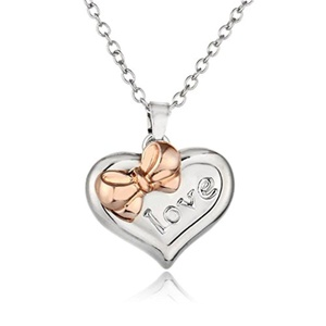 Rinhoo Charming Rhinestone Crystal Love Heart Bow Pendant Necklace White Gold Plated