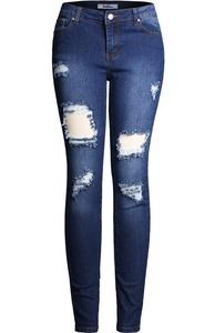 2LUV Women's Stretchy 5 Pocket S Destroyed Dark Denim Skinny Jeans Denim Dark 1