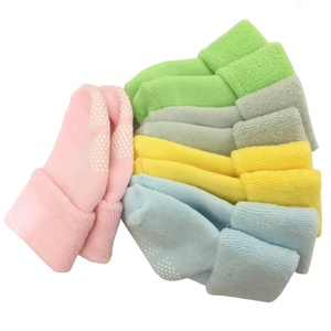 Tdeal 5 Pack Baby Toddler Sock Anti Slip Non-skid Sole Turn Cuff Ankle Cotton Socks