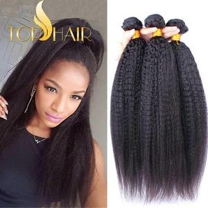 Top Hair Brazilian Virgin Kinky Straight Hair Weave 1 Bundle Italian Yaki Human Hair Extensions Can Be Dyed Natural Color - Natural Black, 16