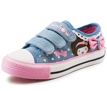 Idealhome Girls Dots Lace Bows Velcro Straps Flat Shoes Blue 8.5 M US Toddler