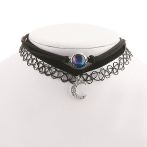 ARICO Steampunk Torques 3 Pcs Necklace Set Choker Crystal Necklace Small Pendant Moon Leather Necklace Jewelry NE514