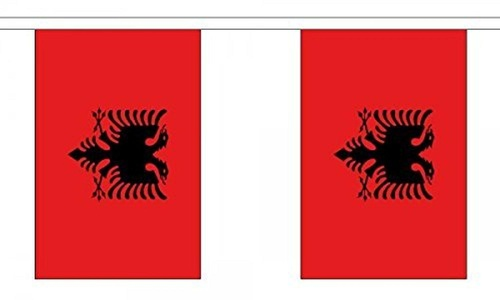Albania Bunting 9M Metre Length With 30 Flags 9X6 100% Woven Polyester by Albania
