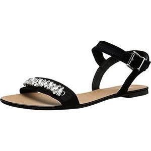 Dune London Womens Neeve Suede Jeweled Flat Sandals