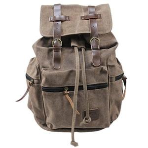 Mens Canvas Leather Bookbag College School Shoulder Satchel Hiking Bag Backpack