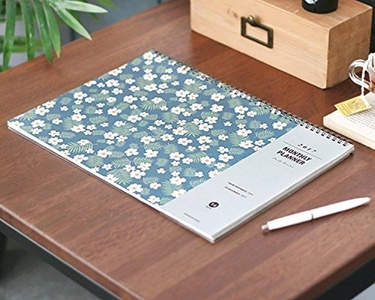 """Flower Design 2017 Desk Planner Pad Wire Bound Monthly Planner Desk Mat Blotter Organizer Desk Calendar Scheduler Agenda, 14 Months, 13.8""""x9.8"""""""