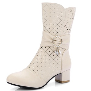 Fashion Heel Women's Chunky Heel Round Toe Rhinestones Zip Mid Calf Boot (10, white)