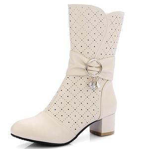 Fashion Heel Women's Chunky Heel Round Toe Rhinestones Zip Mid Calf Boot (10, white)