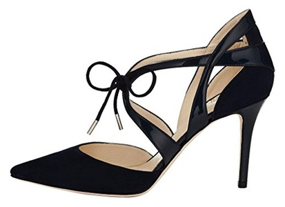 Maovii Women's Big Size Lace Up High Heel Court Shoes Ankle Strap Pointed Toe Casual Style Pump 14 M US Black Suede