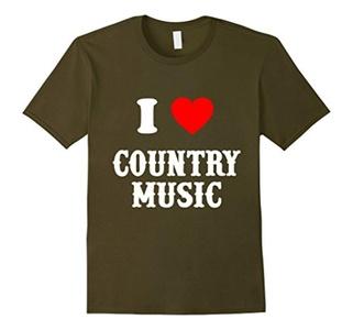 Men's I Love Country Music Unisex's T-Shirt Medium Olive