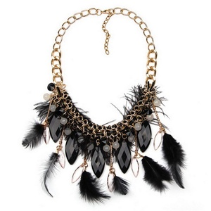 ARICO Choker Feather Statement Necklaces Pendants Jewelry Multi-ethnic Sofe Necklace