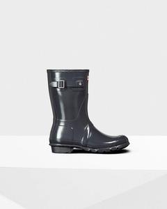 Hunter Women's Original Short Gloss Rain Boots Dark Slate 6