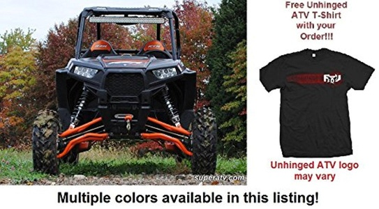 Bundle: 2 Items SuperATV Polaris RZR 1000 High Clearance A-Arms and Unhinged ATV T-shirt (Medium, Red)
