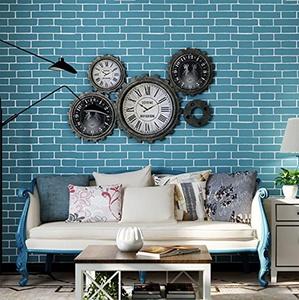 10M Home Improvement 3D Brick Pattern non-woven Wallpaper Rolls (Blue)