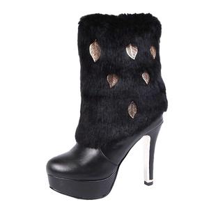 Show Shine Women's Leaf Decorates High Heel Stilettos Dress Boots (4.5, white)