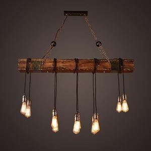 BJVB Three vintage industrial wood pendant lamp bedroom living room chandelier