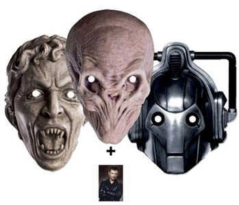 Mask Pack Doctor Who Monsters Party Face Masks Set of 3 (Cyberman, Silent and Weeping Angel) - Includes 6X4 (15X10Cm) Star Photo - Mask Pack #11 by Starstills UK Mask Fan Pack