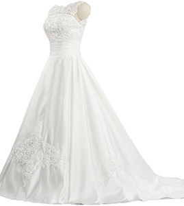 Women's Sleeveless A Line Lace Neckline Wedding Dresses Satin Bridal Gown Size 22W US White