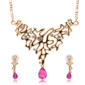 Colored stones Crystal Opal Jewelry Set Wedding Accessories Wedding jewelry Earrings + necklace