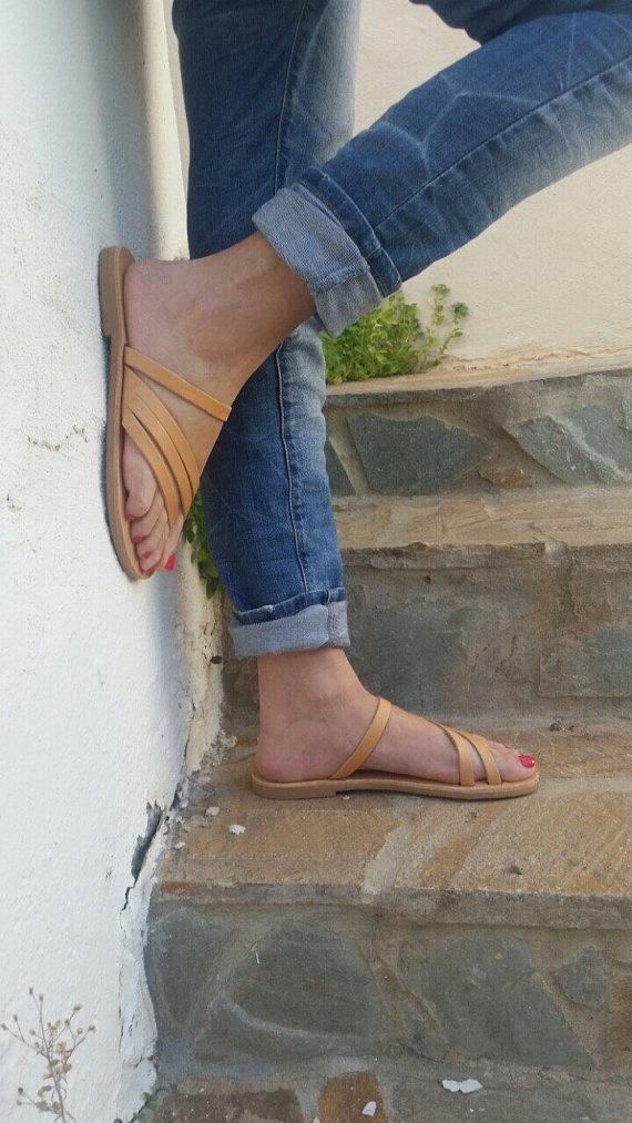 Slip On Greek Leather Sandals