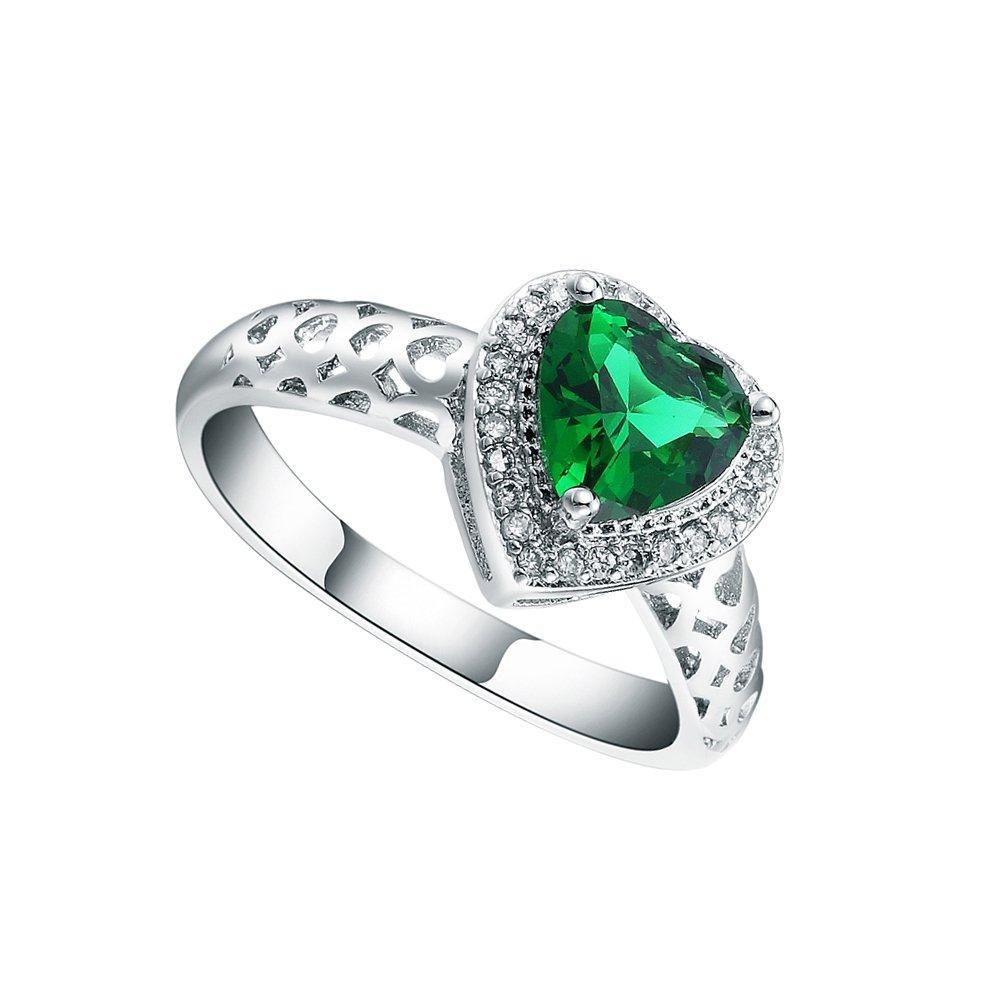 Womens Sterling Silver Green Crystal CZ Zircon Hollow Heart Band Finger Ring Jewelry US 7.8.9