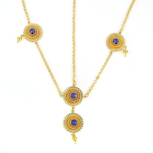 Ethiopian Hair Chain 24k Real Gold Plated Jewelry Hair Accessories For Ethiopian Women (Blue 2.4cm)
