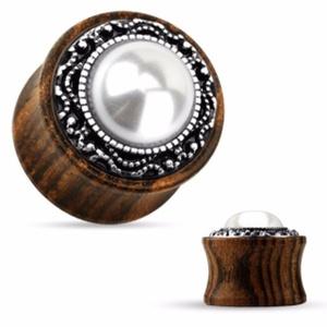 Tribal Pattern Casting around Imitation Pearl Center Organic Wood WildKlass Saddle Plug (Sold as a Pair)