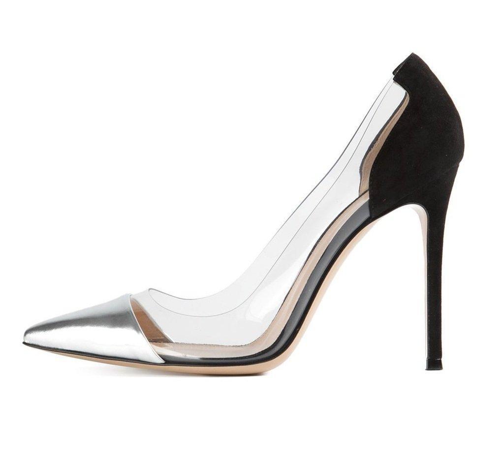 Eldof Women's 100mm Stiletto Heel Pointed Toe Transparent PVC Pumps Slip On Glitter Shoes Silver and Black US8
