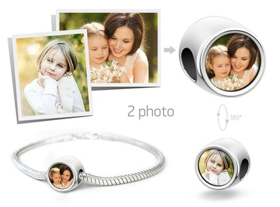 Creationtop Personalized fits Pandora charm with your kids photos Add Your Own Photo Custom Charm(silver plated)