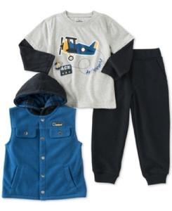 Kids Headquarters Little Boys' Airplane 3-Piece Layered-Look T-Shirt, Vest & Pants Set