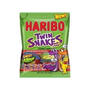 Haribo Twin Snakes Sweet and Sour Gummy Candy, 5 Ounce -- 12 per case.