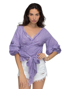 Choies Women Purple Plaid Ruffle Bell Sleeve Bow-waist Tie Vintage Blouse Top L