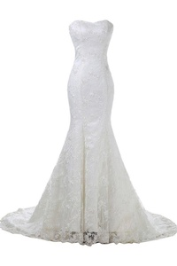 Angel Bride Graceful Sweetheart Sheath Lace Satin Wedding Dress Bride Dress-4-White