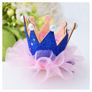 Baby Kids Girls Crown Princess Hair Clip Lace Pearl Shiny Star Hair Accessories Color:Blue