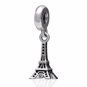 Travel Paris Eiffel Tower Charm Pendant Solid 925 Sterling Silver Dangle Bead Spacer Compatible with 3mm Snake Chain Bracelet