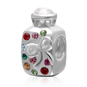 S925 Sterling Silver Birthstone Colorful Crystal Perfume Bottle Charms Beads Fit Pandora Style Bracelet