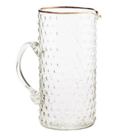 Hm Textured Glass Pitcher