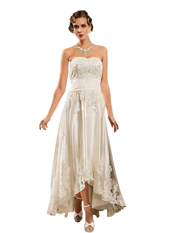 Angel Formal Dresses Women's Strapless Hi Lo Beading Tulle Wedding Dress (18, White)