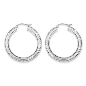 .925 Sterling Silver 37 MM Tube Diamond-Cut Classic Hoop Earrings