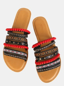 Tribal Multi-Color Pom Pom Flat Sandals