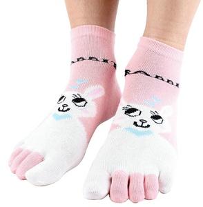 Lovely Rabbit Cotton Five Fingers Toe Socks Casual Socks for Women (pink)