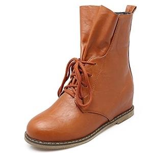 Fashion Heel Women's Wedge Heel Round Toe Lace Up Height Increasing Elevator Boot (6, yellow)