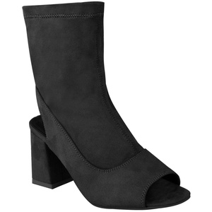 Fashion Thirsty Womens Mid Low Block Heel Ankle Boots Peep Toe Open Back Shoes Size