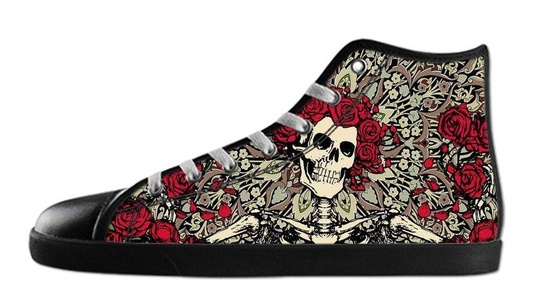 Custom Men's Rock Band Grateful Dead Logo Canvas Shoes High-Top Black Rubber Casual Lace-up Soft Inner Sneaker-10M(US)