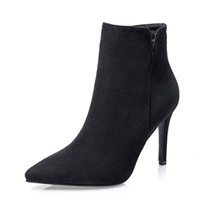 No.66 Town Women's High Heel Pointed-toe Suede Ankle Bootie Shoes Size 6 Black