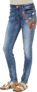 Indigo Rein Juniors Floral Embroidery Skinny Jeans 7 Blue