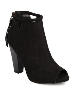 Qupid FE63 Women Faux Suede Peep Toe Perforated Cut Out Chunky Heel Bootie - Black (Size: 7.5)