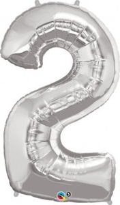 Helium Grade Foil Balloon 43 Number 2 Silver for Party Decoration by Qualatex